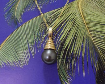 Tahitian Pearl Pendant, 14KT Yellow Gold Tahitian Pearl Pendant, P5054,  Made in Hawaii