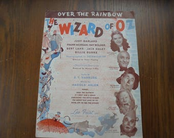 "Vintage Sheet Music ""Over The Rainbow"" From Wizard of Oz (For Framing)"