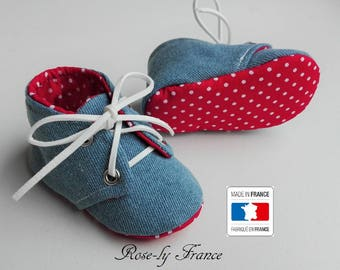 Baby booties in jeans and Red cotton with white dots (baby shoes)