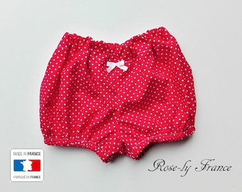 Smart red with white polka dots baby bloomers