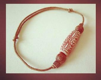 Waxed cotton bracelet