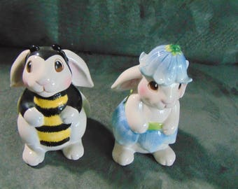 Fitz and Floyd Bunny Blooms Salt and Pepper Shakers