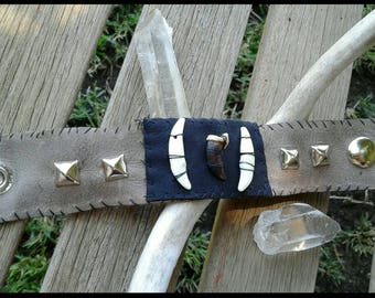 Brown Leather Coyote Tooth Bracelet