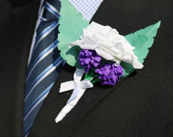 Wedding boutonniere, white buttonhole, rose and lavender, rose corsage, lapel pin, wedding flowers, rose boutonniere, best man, groom rose
