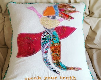 """Speak Your Truth Original Fabric Collage Pillow 22"""" one of a kind throat chakra reminder"""