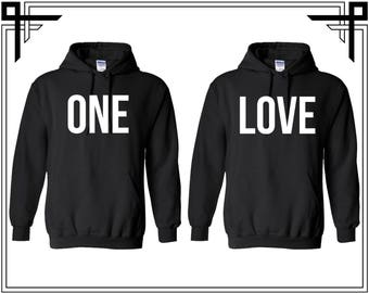 One Love Couple Hoodies One Love Couple Hooded Sweatshirt Party Top Valentines Day & Anniversary Gift Gift For Him Gift For Her