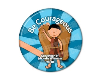 2018 JW Regional Convention Buttons,JW Special Convention,Be Courageous Like David,testigos de jehová,jw convention gifts,spanish asamblea