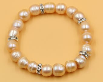 Champagne gold pearl bracelet, bridal bracelet, bridesmaid bracelet, golden weddings, freshwater pearl wedding jewelry