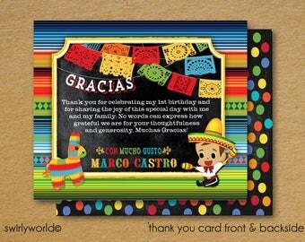Fiesta Birthday Thank You Cards, Papel Picado Paper Flags Thank You Cards, Fiesta Party Thank You Note, 1st Birthday Thank You Card DI3007TY
