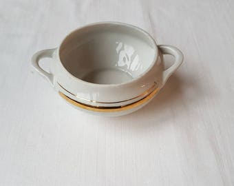Vintage white sugar / sauce bowl /  jar / container with golden stripe in condition  from porcelain / china / faience /ceramic