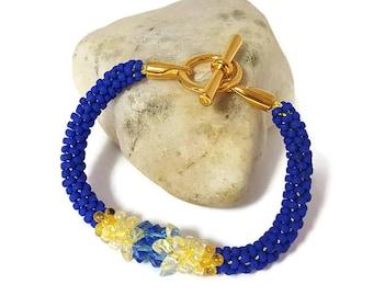 Swarovski, Crystal, Bracelet, Blue, Yellow, Gold, Kumihimo, Handmade, Japanese, Gift, Magatama, Glass Beads, Summer