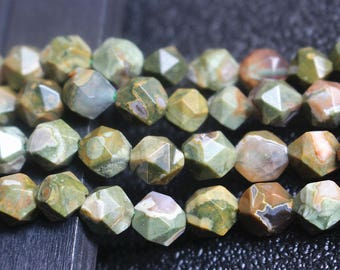 Natural Birdseye Rhyolite Faceted Star Cut Nugget Beads 8mm Rainforest Rhyolite, 15 inch 1 strands