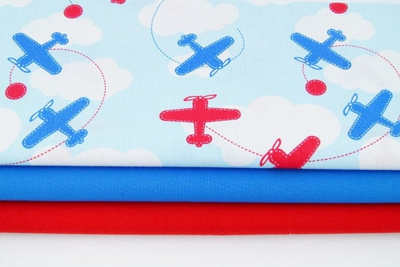 Cotton fabric printed fabric quilting fabric airplane for Airplane print cotton fabric