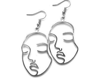 Silver Closed Eyes Face Earrings