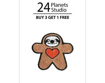 Mini Sloth Doll Heart Iron on Patch by 24PlanetsStudio