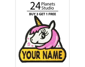 """Unicorn#102 """"Your Name"""" Iron on Patch by 24PlanetsStudio Your Text Custom Made DIY"""