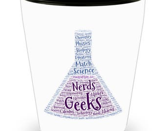 SET of 4!!! Science Rules! Chemistry, Physics, Biology Beaker! DAD Gift!! Let him know how much you care! White Ceramic Shot Glass Gift!