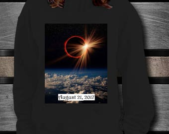 Total Solar ECLIPSE Long Sleeve Tshirt! Fire Red Ring Surrounds the Moon in Actual Photograph 2017 Event Commemorative Tee Treasure Tee!