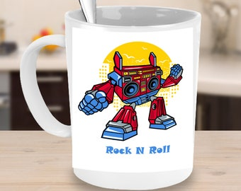 RETRO BOOMBOX ROBOT! Mug Funny Coffee Lover Vintage Retro Music Cassette Tape Robotic Transformer  Cartoon Gift 15oz White Ceramic Mug!
