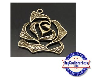 Rose Pendant, Bronze Tone, NICE  +FREE Shipping & DISCOUNTS*