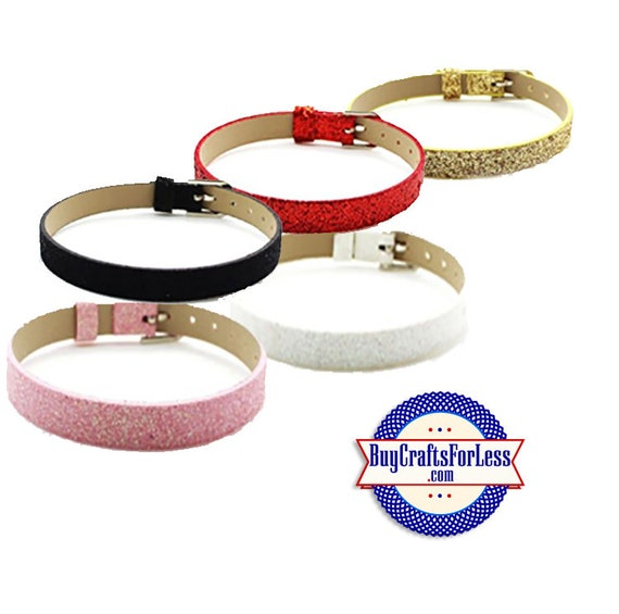 Glitter BRACELET for 8mm SLIDE Letters, Charms +FREE Shipping & Discounts*