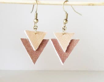Double triangle geometric inverted shiny copper and dark brown leather earrings copper chic shiny