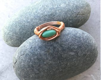 Green Turquoise and Copper Wire Ring