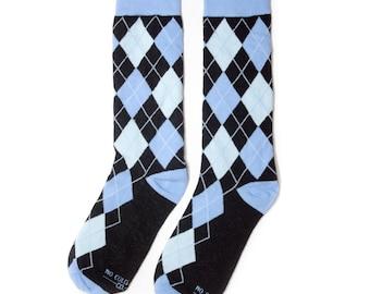 Groomsmen Blue and Black Argyle Socks/Wedding Day Socks/Groomsmen Gifts/Groomsmen Proposal Idea/Colorful Dress Socks
