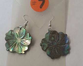 Carved Abalone Flower Earrings