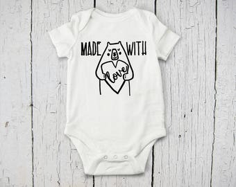 Made With Love Baby Onesie | Going Home Baby Outfit | Baby Shower Gift | Custom Baby Bodysuit | Custom Baby Onesie