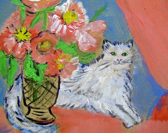 CUTE CAT ACRYLIC PAINTING AND FLOWER VASE