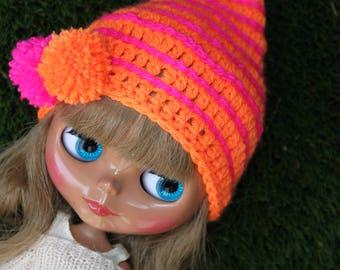 Bright Neo Orange and Pink Blythe hat