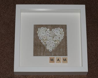 Hessian and white heart box frame ***Mothers Day Gift***