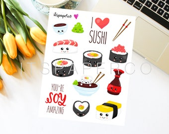 Kawaii Sushi Stickers - Bullet Journal Stickers - Planner Stickers - Decorative Stickers - SUSHI1