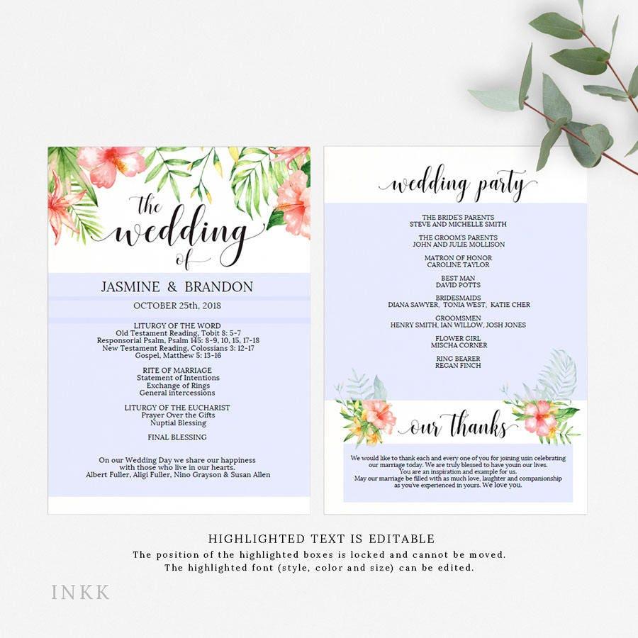 Printable Wedding Program Wedding Program Template Tropical - Editable wedding program templates