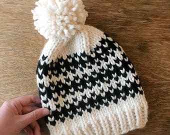 Fair Isle knit slouchy hat with pom pom