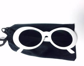 90s Kurt Cobain White Oval Frame Tinted Dark Vintage Retro Sunglasses
