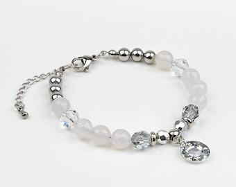 White bracelet, Swarovski Crystal, stainless steel