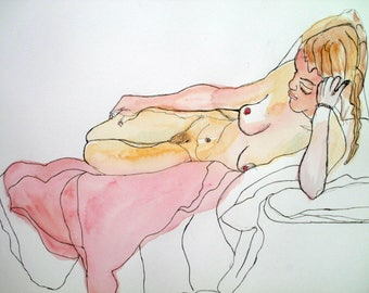 Original Life Drawing Pen Watercolour