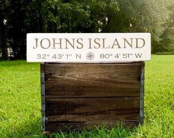 Johns Island, South Carolina Coordinates Wood Sign