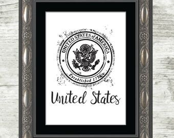 United States Print, US, Stamp, United States