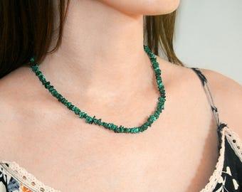 Green malachite necklace Green malachite necklace Vintage necklace Malachite jewellery Vintage jewellery Natural malachite necklace for her