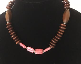 Chocolate and Raspberry Necklace: Wood and Rhodolite Beads