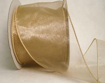 "3"" wide wired ribbon, neutral tone sheer iridescent wired ribbon, size 3"" x 20 yards"