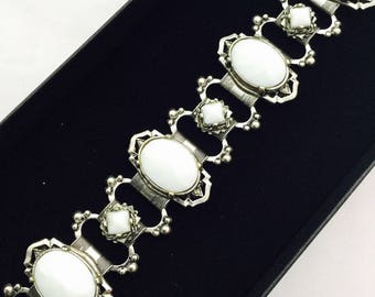 1950's Statement White and Silver  Bracelet