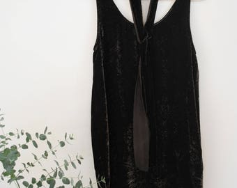 NIGHT |  Naturally dyed silk velvet tank dress (with walnut hulls and rust water) | deep brown velvet dress with sash