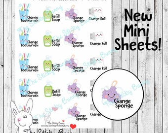 Bathroom Essentials - Mini Sheet - Planner Stickers for Happy Planner, Erin Condren, Filofax, Kikkik (S192B-MS)