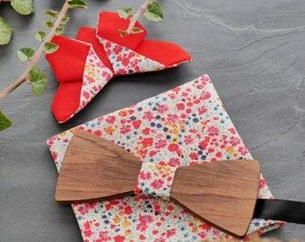 Ensemble Liberty noeud papillon bois + pochette + broche papillon Origami en Liberty fleurs rouges