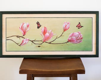 Magnolia Tree Flowers Wood Carving Wall Art Original Painting Hand Made Gift Wall Art