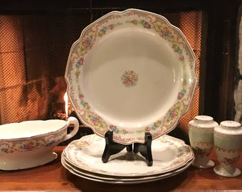 Antique Unknown Pattern 4Plates, Gravy Boat and Salt and Pepper Shakers